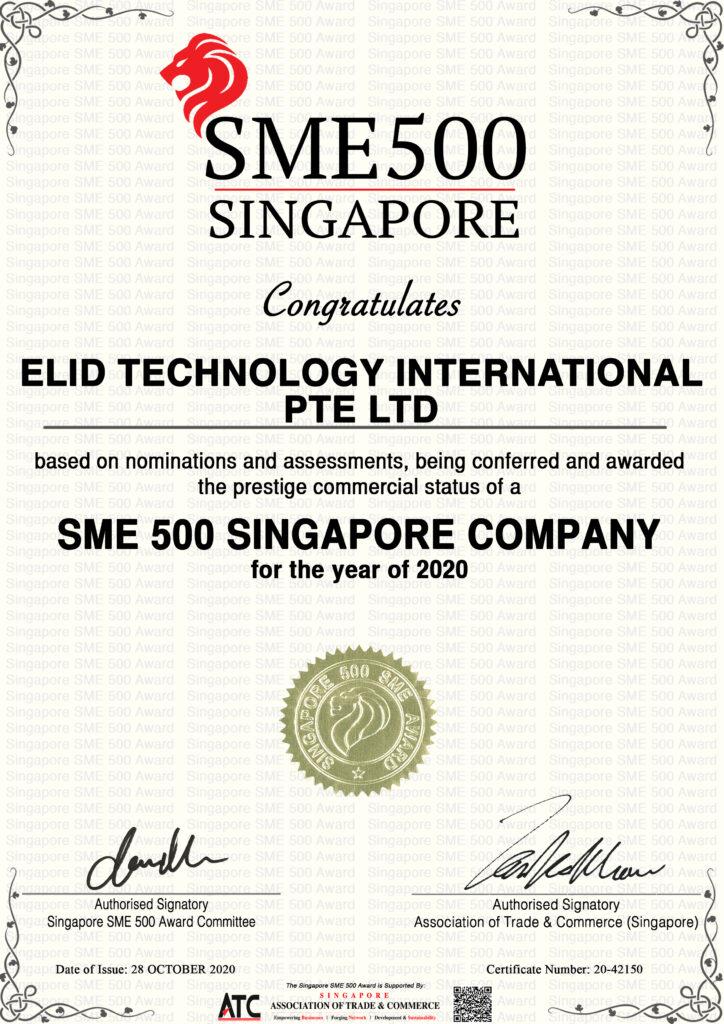 Latest News | Elid Technology International Pte. Ltd | Elid Technology SME 500 Certificate 2020